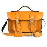 【The Leather Satchel Co.】11吋 英國手工牛皮劍橋包 手提包 肩背 側背包 多功能兩用包 精湛工藝 新款磁釦設計方便開啟(駝黃)