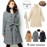 日本Portcros 現貨-經典毛領綁帶長大衣外套(駝/M)