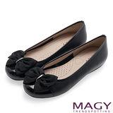 MAGY 甜美可愛系 立體大織帶蝴蝶結平底娃娃鞋-黑色