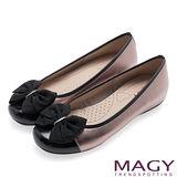 MAGY 甜美可愛系 立體大織帶蝴蝶結平底娃娃鞋-古銅