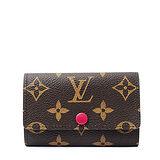 Louis Vuitton LV M60701 經典花紋六扣鑰匙包.紫紅 預購