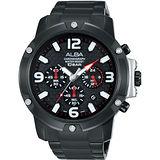 ALBA 極速傳奇三眼計時腕錶-黑/45mm VD53-X218SD(AT3825X1)