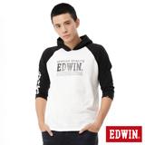 EDWIN 拉克蘭七分袖連帽T恤-男-白色