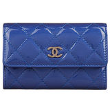 CHANEL 經典菱格紋漆皮小香LOGO銀釦卡夾包/零錢包(藍)
