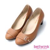 bellwink【b8821ce】英倫風復古拼接色塊中跟牛津鞋-棕色