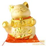 【開運納福】千客萬來9吋陶瓷招財貓撲滿擺飾(附坐墊)