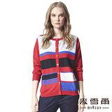 【麥雪爾】多色拼接風排扣針織外套