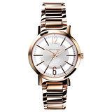 RELAX TIME RT56 輕熟風格系列鏤空腕錶-銀x玫瑰金/36mm RT-56-8