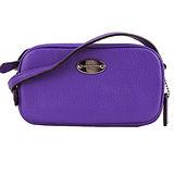 COACH 鐵牌素面皮革斜背包(紫)