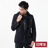 EDWIN 羊毛雙排扣連帽防寒外套-男-丈青色