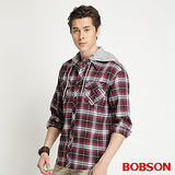BOBSON 刷毛格紋襯衫 -34001-13