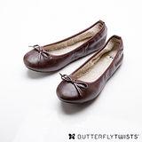 BUTTERFLY TWISTS - PENELOPE可折疊扭轉芭蕾舞鞋-深褐色