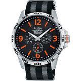 ALBA ACTIVE 活力運動日曆錶-黑x橘時標/44mm VD75-X092O(AP6341X1)