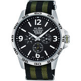 ALBA ACTIVE 活力運動日曆錶-黑x綠/44mm VD75-X092G(AP6343X1)