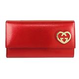 GUCCI Heart-Shape 金屬愛心素面翻蓋扣式長夾(紅)