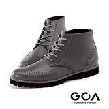 GOA紳士品味牛津綁帶雨靴-灰色