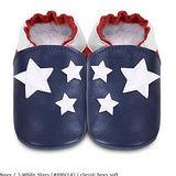 英國 shooshoos 安全無毒真皮手工鞋/學步鞋/嬰兒鞋 海軍藍/白色小星星(公司貨)