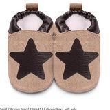 英國 shooshoos 安全無毒真皮手工鞋/學步鞋/嬰兒鞋 棕色大星星(公司貨)(麝皮)