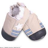 英國 shooshoos 安全無毒真皮手工鞋/學步鞋/嬰兒鞋 米色小星星(公司貨)