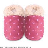英國 shooshoos 安全無毒真皮手工鞋/學步鞋/嬰兒鞋 桃紅點點毛毛(公司貨)