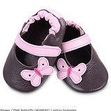 英國 shooshoos 安全無毒真皮手工鞋/學步鞋/嬰兒鞋 棕色/粉蝴蝶(公司貨)