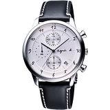 agnes b 都會風時尚計時腕錶-銀x黑 VD57-00A0S(BM3003J1)