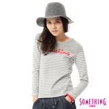 SOMETHING LOGO繡花條紋長袖T恤-女-淺灰色