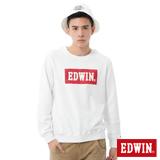 EDWIN 迷彩LOGO印花厚長袖T恤-男-白色