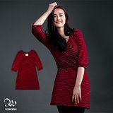 WINCEYS 條紋拼接七分袖洋裝-紅