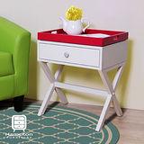 漢妮Hampton安琪拉一抽托盤茶几組/小茶几/邊桌/小朋友遊戲桌-白+深紅