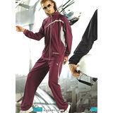 【義大利DIADORA】女版吸濕排汗針織運動服套裝(外套+長褲)(深紫)