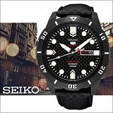SEIKO 精工 5號盾牌24石 碳纖維鋼鐵時尚經典機械腕錶-45mm-4R36-04J0K(SRP721J1)