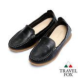 (女)Travel Fox 柔軟皮革鬆緊帶舒適鞋915315(01-黑)