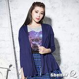 【Shelter Q】垂墜感雪紡拼接罩衫外套 (黑/深灰/藍)