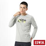 EDWIN 網路限定 幾何LOGO長袖薄T恤-男-麻灰色