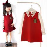 【秋冬新款】徽章學院風((紅色))甜美長袖洋裝