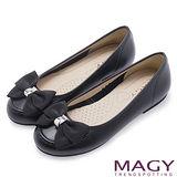 MAGY 甜美可愛系 織帶蝴蝶結牛皮平底娃娃鞋-黑色