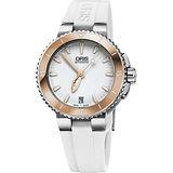 Oris Aquis 時間之海中型潛水機械錶-白x玫瑰金圈/36mm 0173376524356-0741831