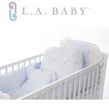 【美國 L.A. Baby】天使熊純棉七件式寢具組(M)(MIT 藍色/粉色/米色)