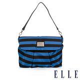 ELLE 法式優雅 海軍風 時尚休閒側背包款 搭配質感頭層皮 淑媛設計款-藍白 EL83463A-35