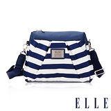 ELLE 法式優雅 海軍風 時尚休閒側背包款 搭配質感頭層皮 淑媛設計款-藍白 EL83466A-35