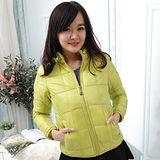 【Stoney.ax】新款韓版修身立領百搭方格款羽絨服棉衣外套-綠色