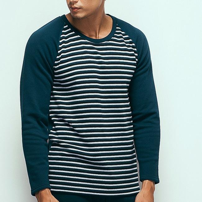 HENIS 時尚型男速暖絨彈性條紋長袖保暖衫~2件組(隨機取色)