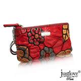 【justloveParis】法國名品真皮皮夾立體感太陽花拉鍊零錢包吊飾掛飾鑰匙圈(共2色)BW-0070-9