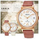 SEIKO LUKIA 機械皮帶數字時尚女用腕錶/薔薇色/4R35-00J0G(SRP868J1)