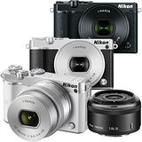 Nikon 1 J5 10-30mm + 18.5mm 雙鏡組(公司貨) 贈64G記憶卡+副廠電池+專用復古兩件式皮套+螢幕保護貼