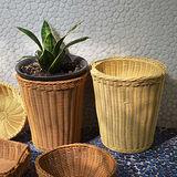 【收納職人】鄉村風收納裝飾編織置物籃PP藤編籃(圓桶米黃)