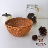 【收納職人】鄉村風收納裝飾編織置物籃PP藤編籃(半球駝色)