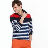 【Vallatno Leo】男版提花長袖POLO衫/藍白條紋紅
