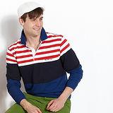 【Vallatno Leo】男版提花長袖POLO衫/紅白條紋藍